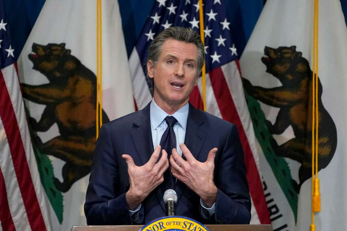 California Gov. Gavin Newsom outlines his 2021-22 budget proposal during a news in Sacramento last month.