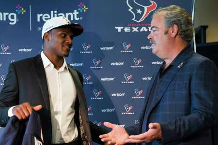 Contrary to the night the Texans traded up to make him the 12th overall pick in the 2017 draft, quarterback Deshaun Watson, left, is no longer on the same page with team chairman and CEO Cal McNair.