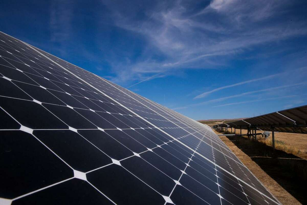 A view of some of the 749,088 solar panels at the California Valley Solar Farm near Santa Margarita (San Luis Obispo County) in 2015.