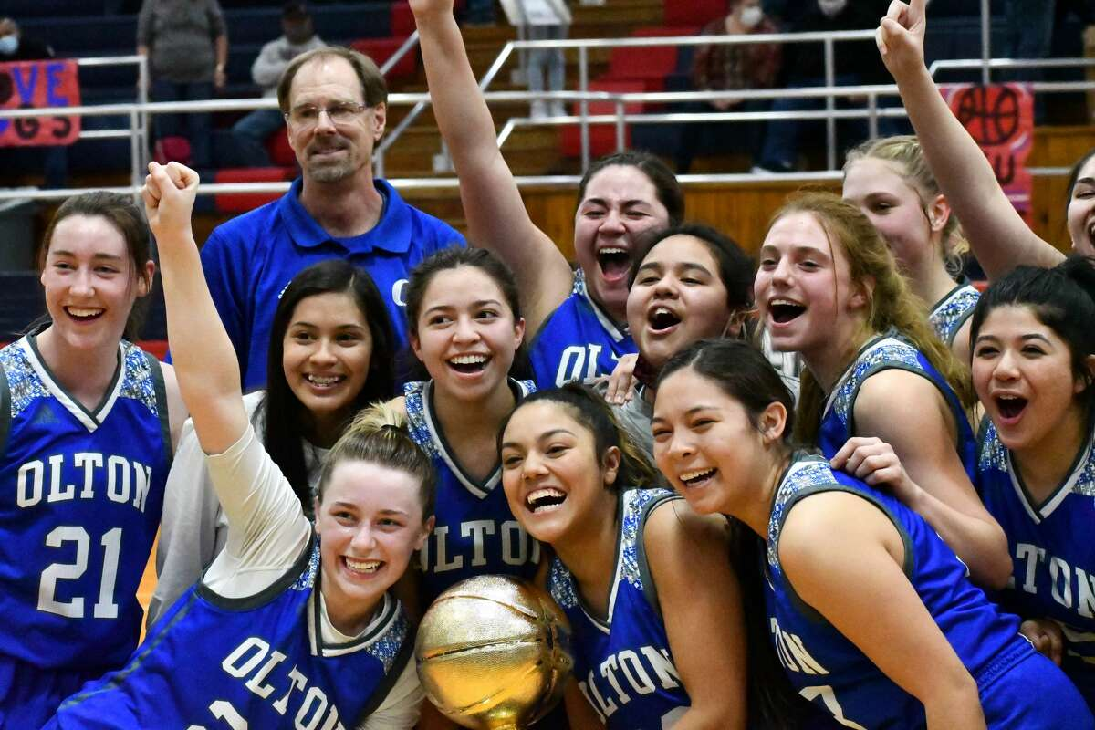 The Olton Fillies celebrate their 49-47 Class 2A bi-district championship win over Ralls on Thursday in the Dog House at Plainview High School.