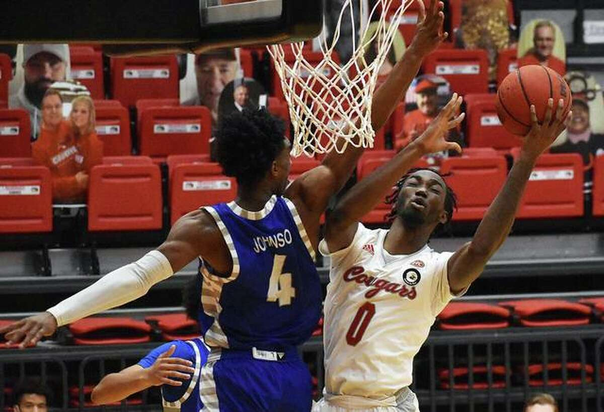 In this file photo, SIUE forward Sidney Wilson goes up for a contested shot against Eastern Illinois in a home game inside First Community Arena in Edwardsville. Wilson had five points and six rebounds in Thursday's win at Tennessee Tech.
