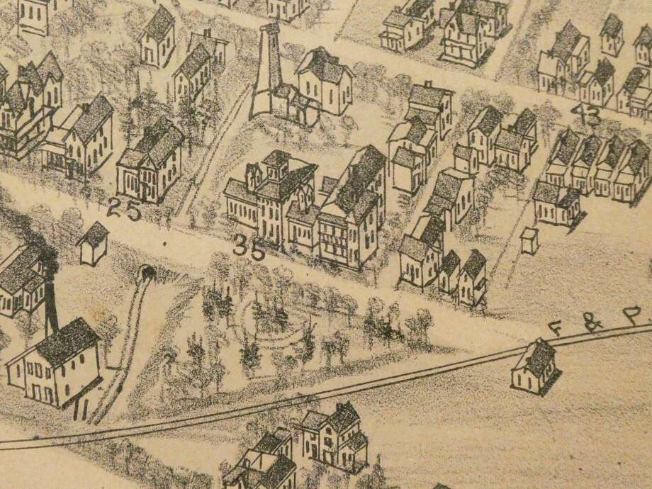 The Mineral Springs Bathhouse and Boarding in 1884 (labeled #35) with Its nearby Brine Well, Midland Birdseye View, 1884, Courtesy Midland County Historical Society Archives. (Photo Provided)