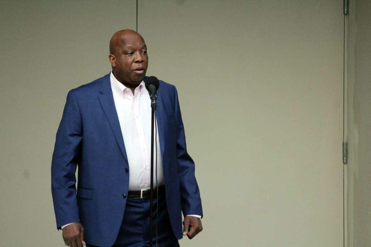 TEAM Westport Chair Harold Bailey Jr. speaks at a forum titled