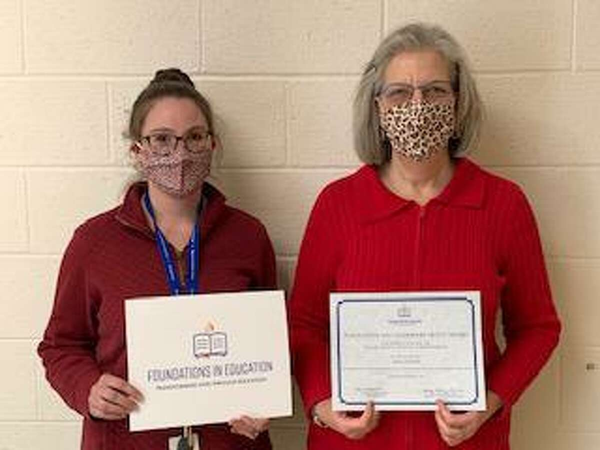 Holy Trinity Catholic Academy recently received two innovation grants for the 2021-22 school year. Pictured are grant winners third grade teacher Kristina DeSimone, left, and Head of School Lisa Lanni.
