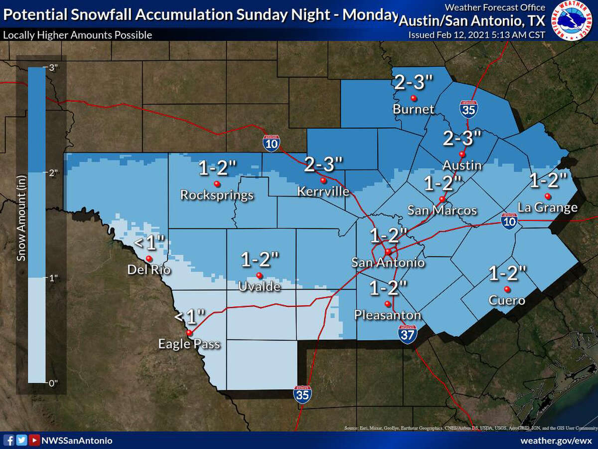 SUNDAY-MONDAY ---- Snow accumulations predicted for San Antonio by the National Weather Service.