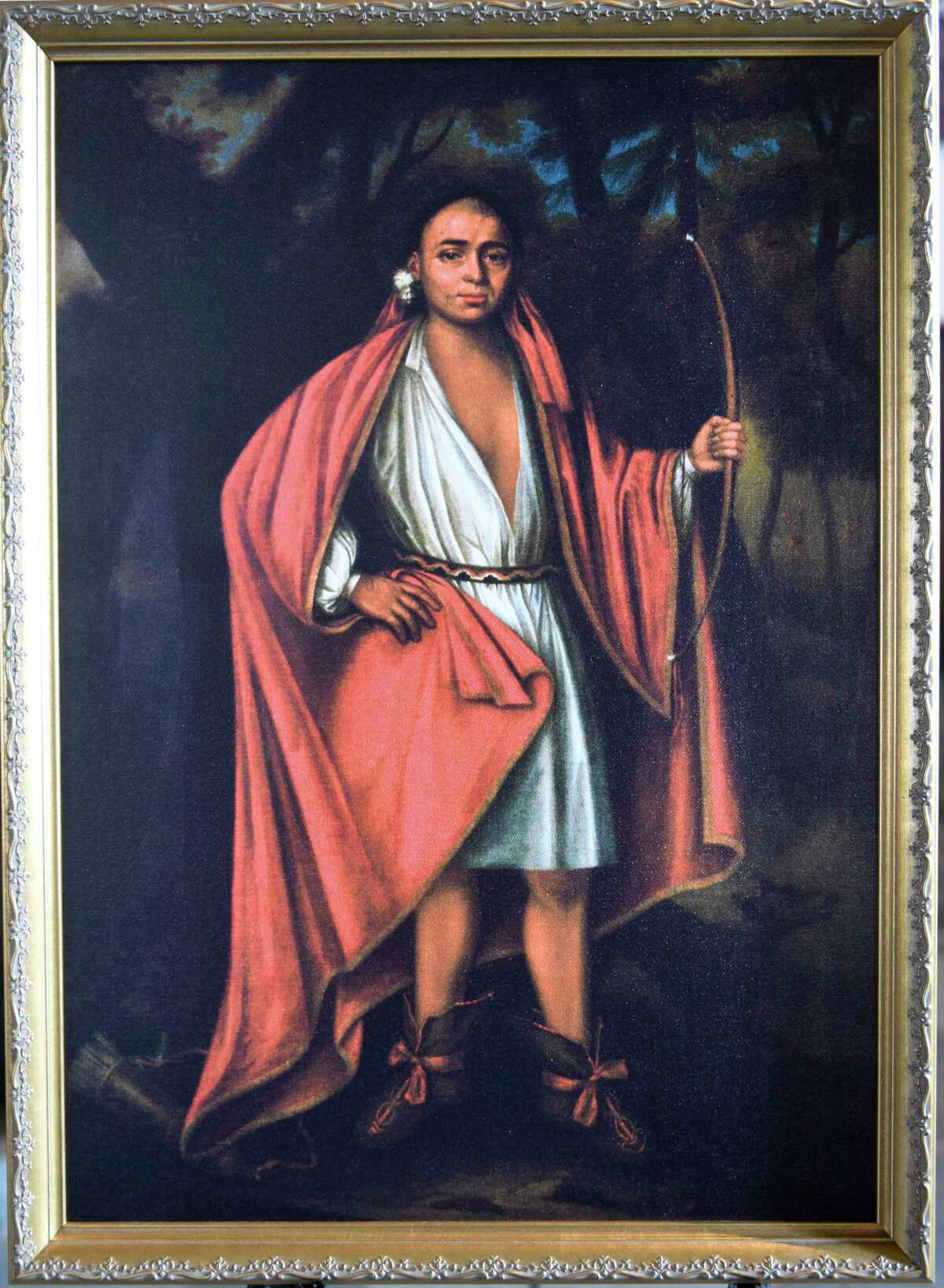Johannes Onekoheriako, a Mohawk leader, is one of four Native American leaders who traveled to England where the Crown commissioned Dutch artist Jan Verelst to paint their portraits and is displayed in First Reformed Church on Thursday, Feb. 11, 2021 in Schenectady, N.Y. The leaders were members of the church.(Lori Van Buren/Times Union)