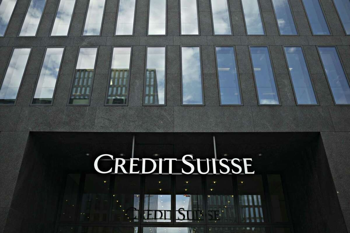 The entrance to a Credit Suisse Group office building in Zurich on July 6, 2017.