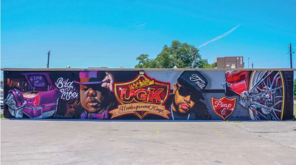 Located at the Houston Graffiti Building is Houston's Big Moe and Pimp C wall-painted by artists The One Lee, and Cease MZK.