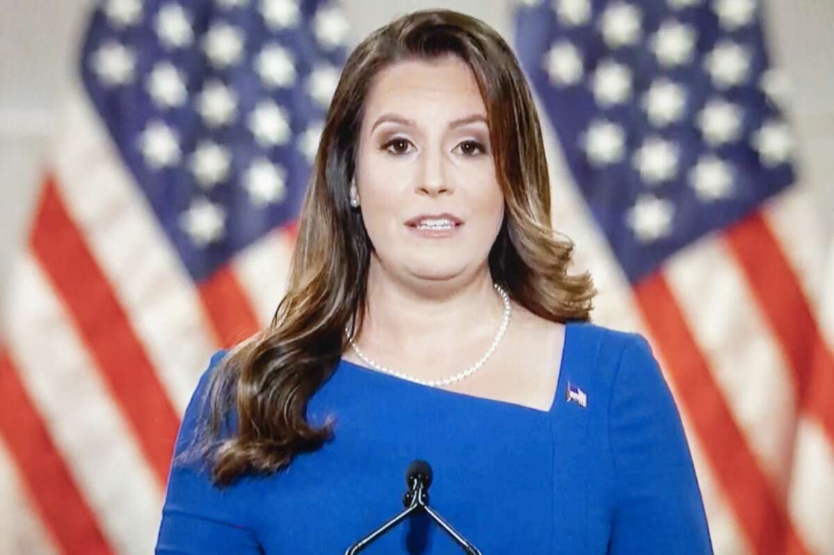 Rep. Elise Stefanik, a Republican from New York, speaks during the Republican National Convention on Aug. 26, 2020. MUST CREDIT: Bloomberg photo by Daniel Acker.