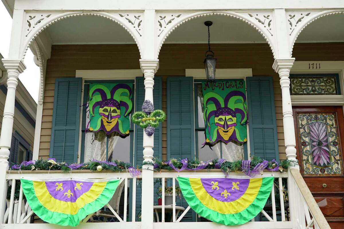 A home on the 1700 block of Ball Street in Galveston is part of the Mardis Gras porch parade.