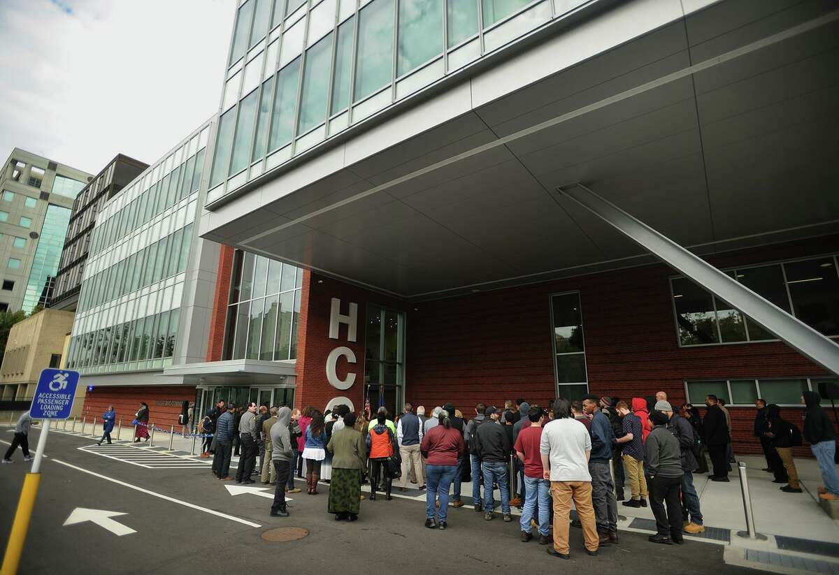 The ribbon-cutting ceremony for Housatonic Community College's Lafayette Hall expansion in Bridgeport in 2018.