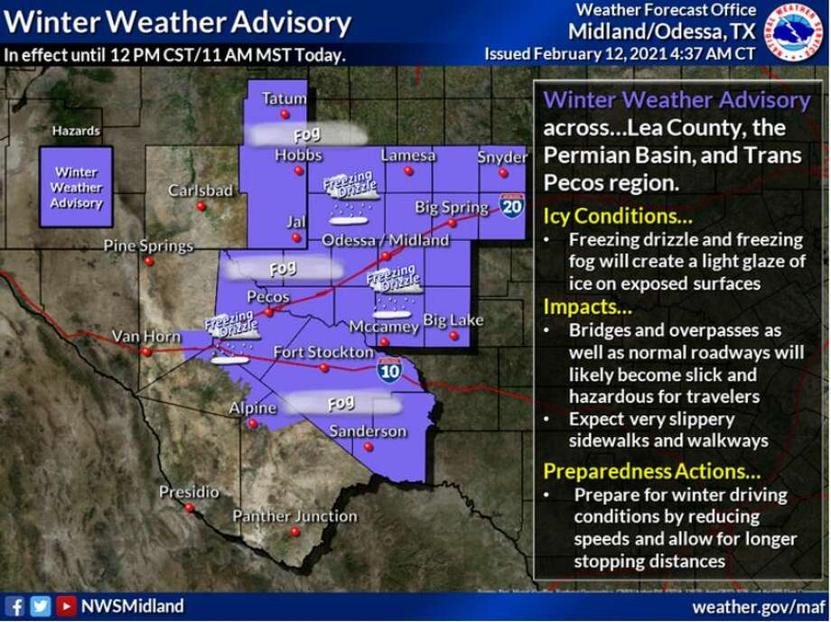 Freezing fog/drizzle will create a light glaze of ice on exposed surfaces including roads and sidewalks. Drivers should exercise caution and reduce speeds. Photo: Midland National Weather Service