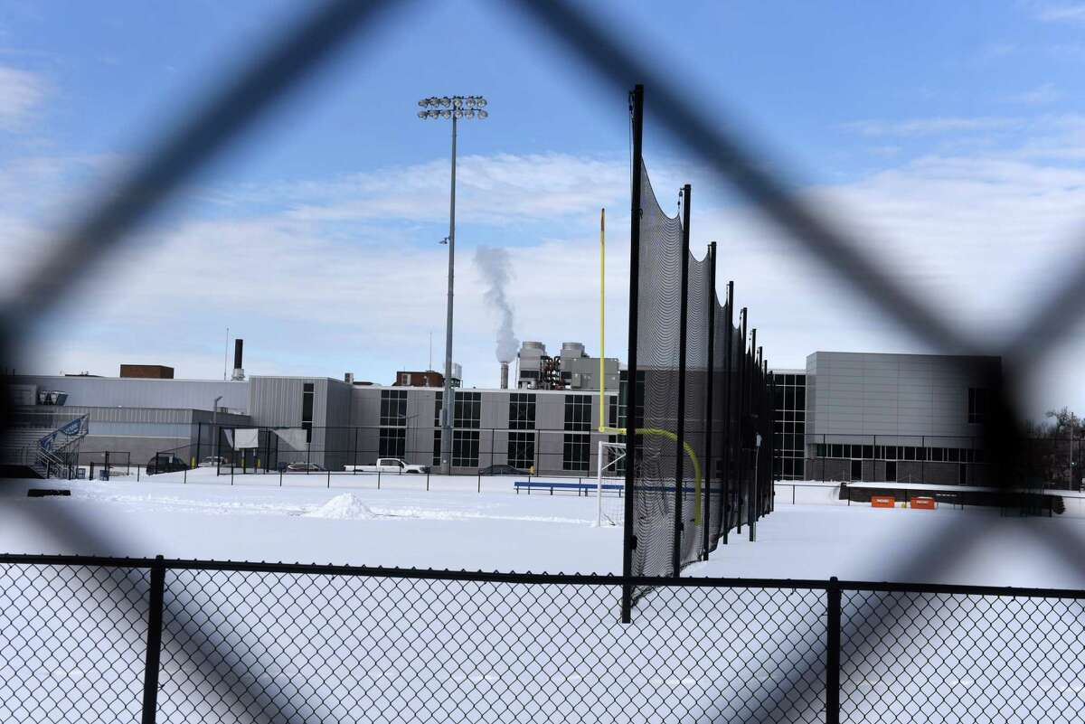 The playing fields at Albany High School sit silent as the newly expanded education center enters winter recess on Friday, Feb. 12, 2021, in Albany, N.Y. (Will Waldron/Times Union)