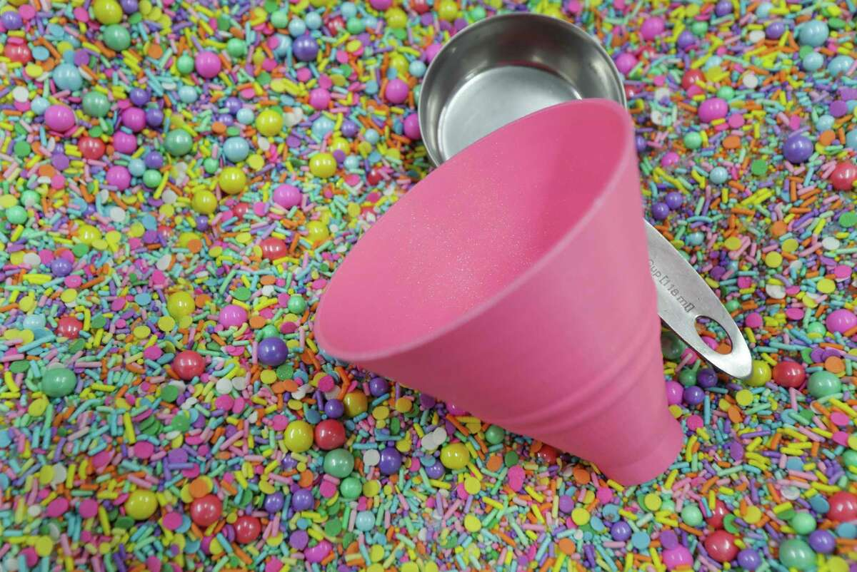 Colorful custom sprinkles for baking supply stores and professional bakers at Sprinkle Pop Thursday, Feb. 11, 2021, in Houston.