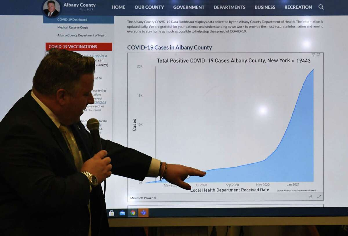 Albany County Executive Dan McCoy delivers the latest county coronavirus figures during a news briefing on Friday, Feb. 12, 2021, in Albany, N.Y. The county reported 85 new positive cases, nine new hospitalizations and one COVID-related death. (Will Waldron/Times Union)