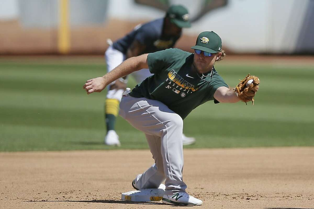 Oakland Athletics Sheldon Neuse during summer camp at the Oakland Coliseum on Friday, July 17, 2020, in Oakland, Calif.