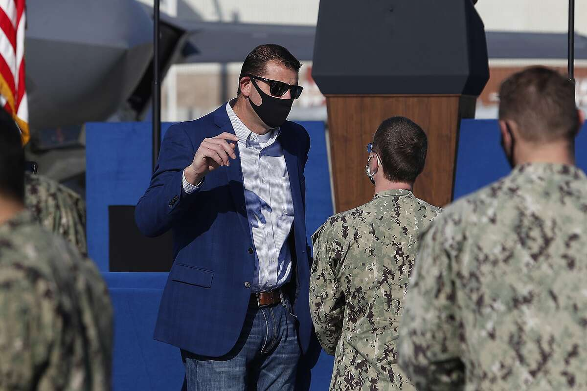 Rep. David Valadao, R-Calif., one of 10 Republican members of Congress who voted to impeach the President Donald Trump, speaks to sailors before Vice President Mike Pence's arrival at Lemoore Naval Air Station Saturday, Jan. 16, 2021, in Lemoore, Calif. (AP Photo/Gary Kazanjian)