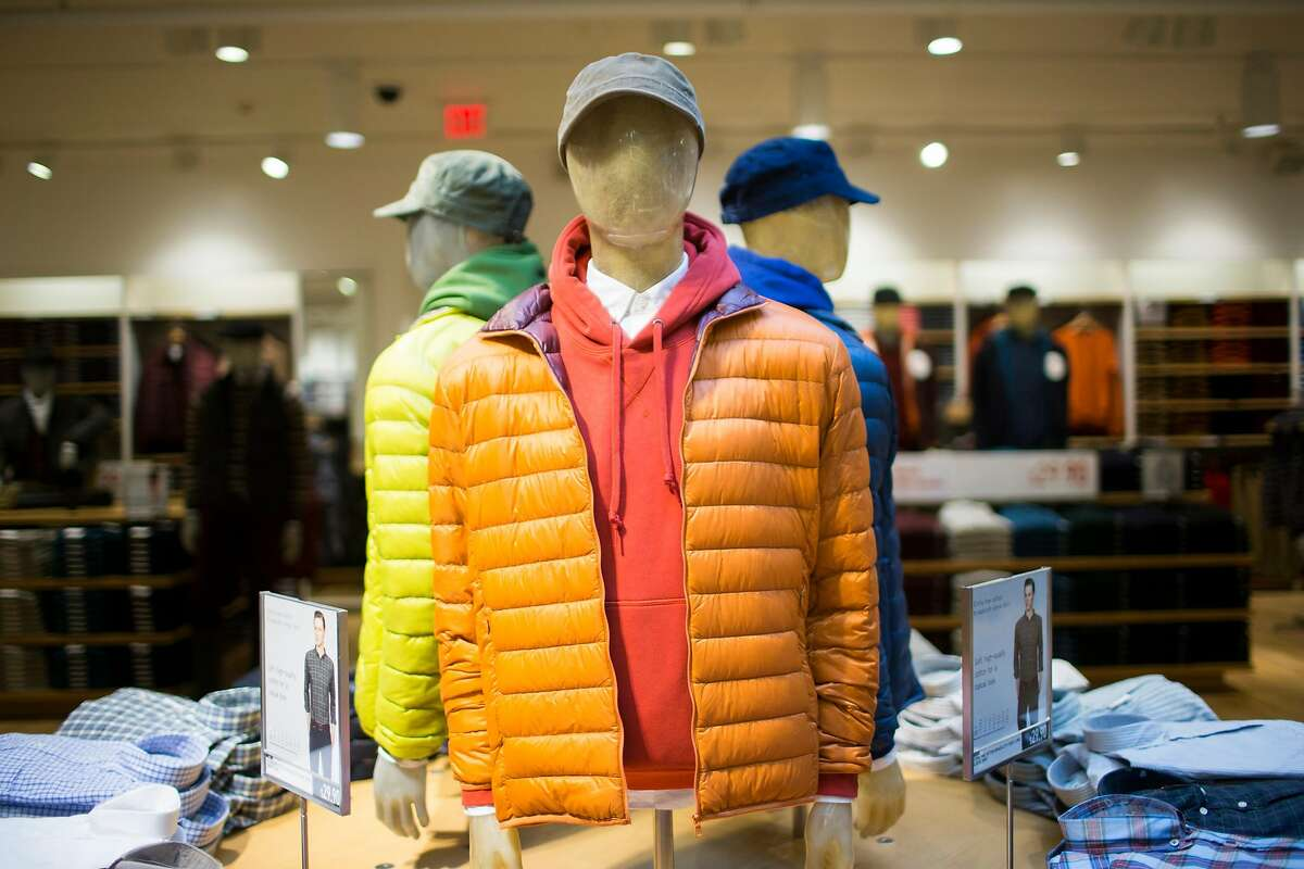 Mannequins showcasing Uniqlo's lightweight packable down jacket at the Japanese apparel retailer's first West Coast flagship store on Powell St. in San Francisco in 2012.