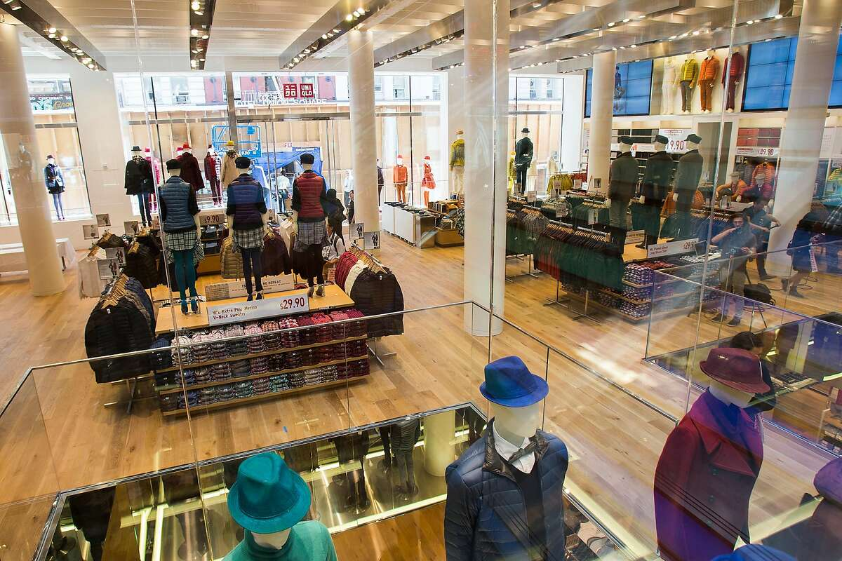 An interior view of Japanese retailer Uniqlo's first West Coast flagship store on Powell St. in San Francisco in 2012, the year it opened.