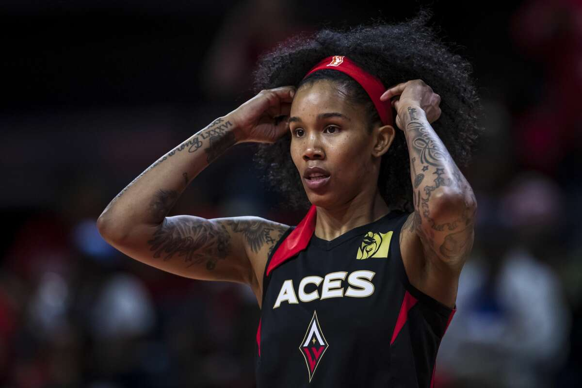 WASHINGTON, DC - SEPTEMBER 19: Tamera Young #1 of the Las Vegas Aces looks on against the Washington Mystics during the first half of Game Two of the 2019 WNBA playoffs at St Elizabeths East Entertainment & Sports Arena on September 19, 2019 in Washington, DC. NOTE TO USER: User expressly acknowledges and agrees that, by downloading and or using this photograph, User is consenting to the terms and conditions of the Getty Images License Agreement. (Photo by Scott Taetsch/Getty Images)