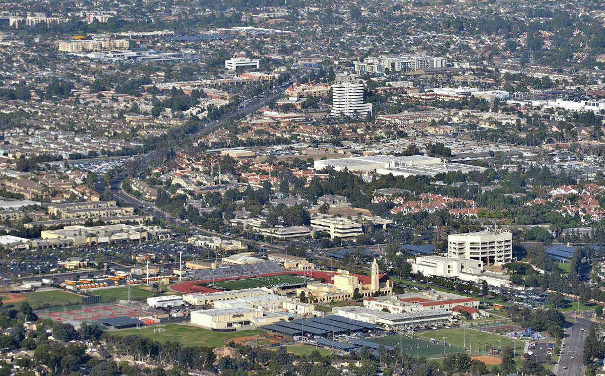Aerial view of the Huntington Beach High School in Huntington Beach, Calif., on Thursday, Oct 3, 2019.