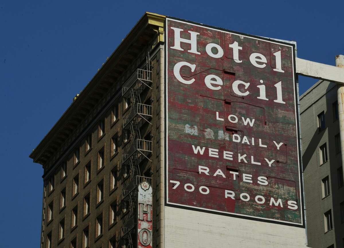 A view of the Cecil Hotel in downtown Los Angeles in 2017.