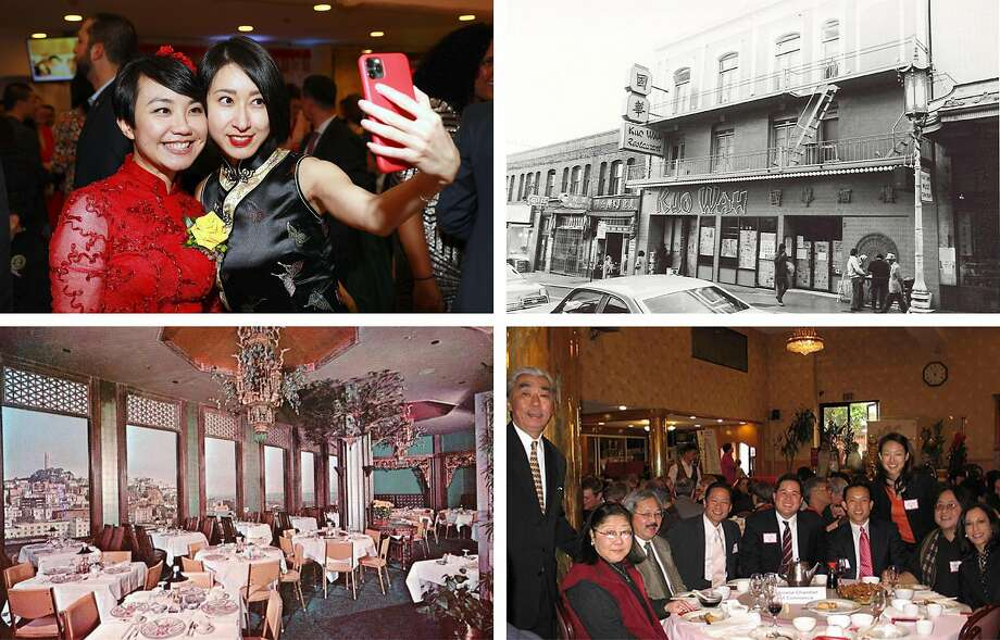 Clockwise from top left: Gogo Wu and Lillian Lin at the Chinese Real Estate Association of America Chinese New Year and Installation Banquet held at New Asia restaurant on February 21, 2020; Kuo Wah restaurant in San Francisco's Chinatown in an undated photo; a Lunar New Year banquet held by the Chinatown Community Development Center (CCDC) that was attended by, from far right, future Vice President Kamala Harris, the Rev. Norman Fong of the CCDC, Jane Kim, David Chiu, Phil Ting, the late Jeff Adachi, the late Mayor Ed Lee, the late Rose Pak and CCDC founder Gordon Chin; an image from an old postcard showing the interior of the Empress of China, a banquet hall in San Francisco's Chinatown. Photo: Photos By Frank Jang And Chinatown Community Development Center