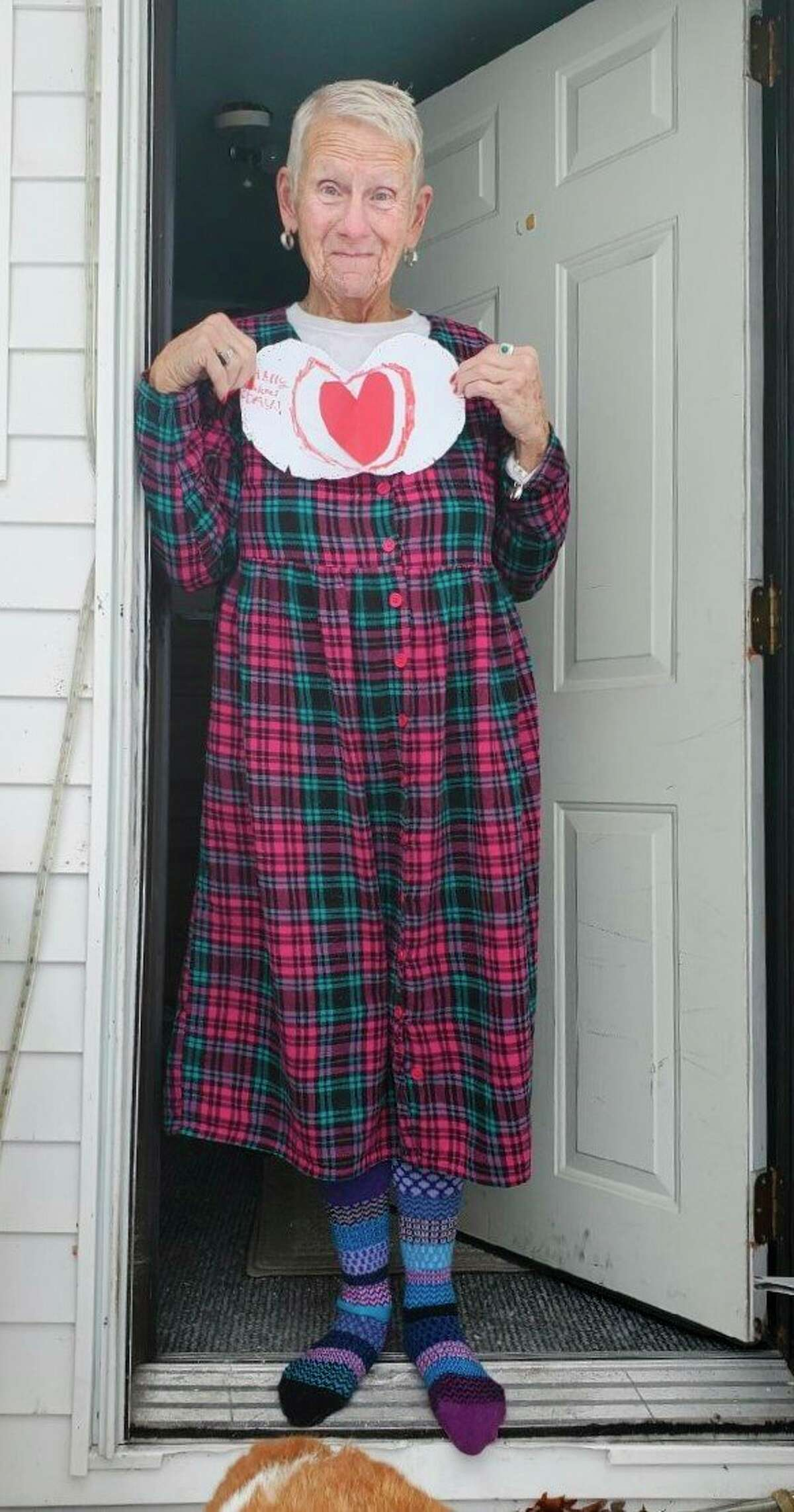 A senior shows off her valentine which was made by Jefferson Elementary students and included with the meals delivered by the senior nutrition program. (Courtesy photo)