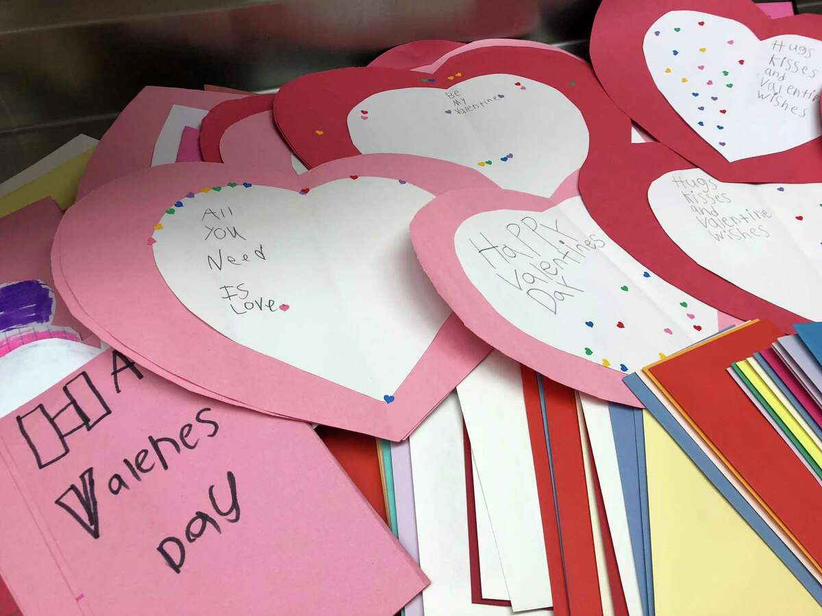 Jefferson Elementary students made nearly 130 Valentine's Day cards to be included with the meals delivered by the Manistee County senior nutrition program on Thursday. (Courtesy photo)