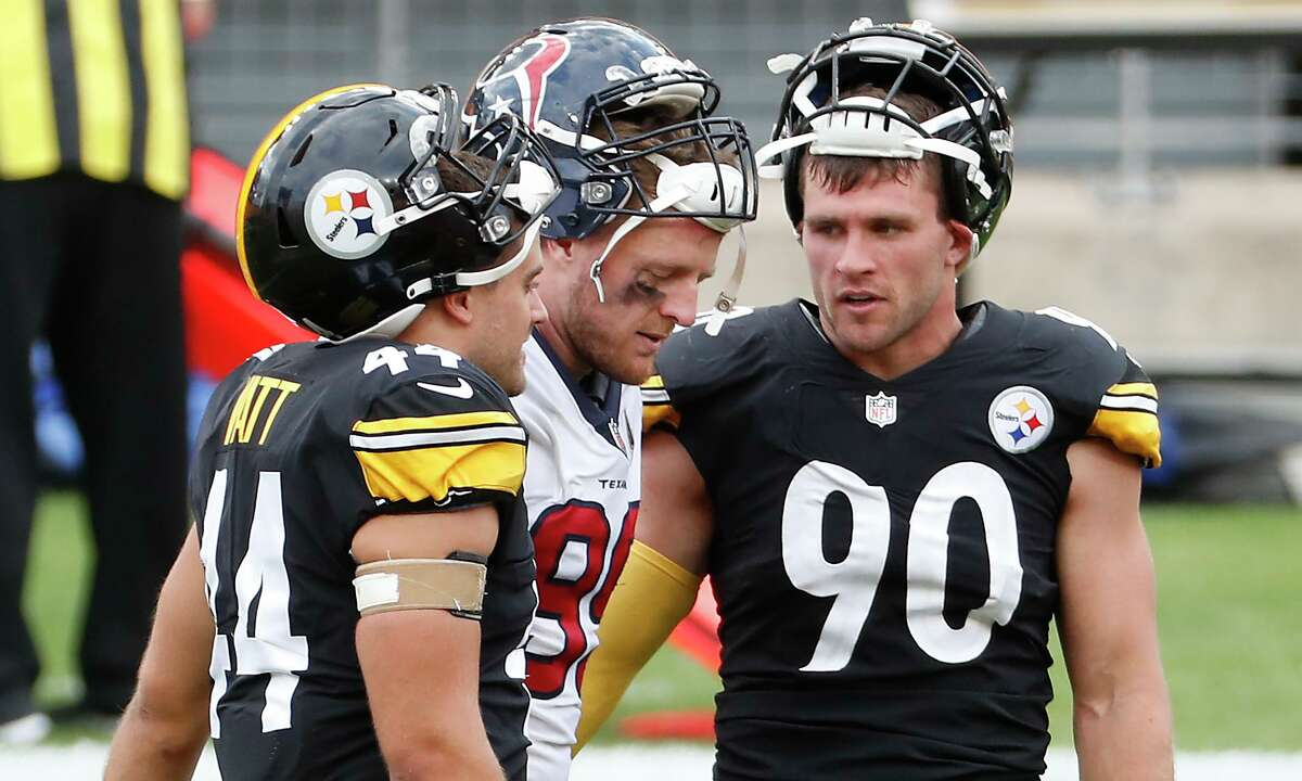 The Watt brothers, Derek (44), J.J. and T.J. (90) were together when the Texans played at Pittsburgh in September. After being released by Houston, a reunion could be possible.