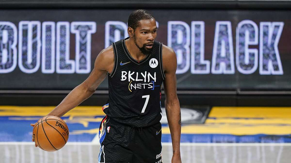 Brooklyn Nets' Kevin Durant (7) during the second half of an NBA basketball game against the Toronto Raptors Friday, Feb. 5, 2021, in New York. (AP Photo/Frank Franklin II)