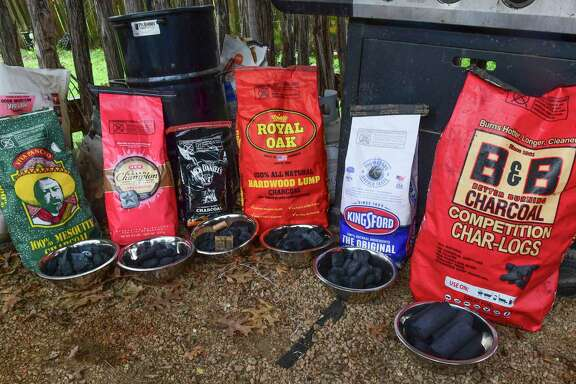 Six charcoal types sampled include, from left, Viva Pancho, H-E-B Grand Champion Applewood, Jack Daniels, Royal Oak Hardwood Lump, Kingsford and B&B Competition Char-Logs.