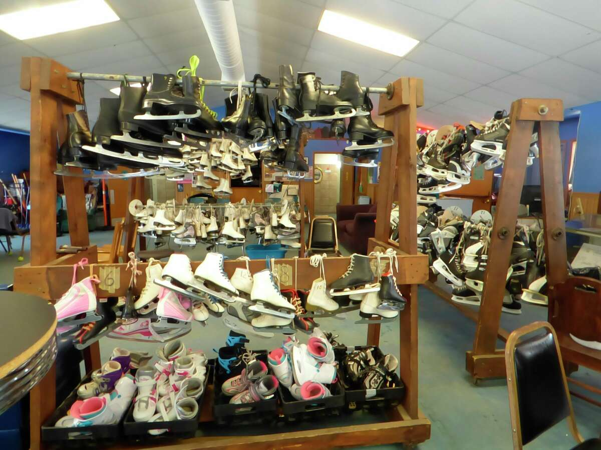 The Manistee County Teen Center currently has around 200 skates available for the public to use at the Sands Park ice rink. The center is considering a name change that staff hope may better describe its service to the community. (Scott Fraley/News Advocate)