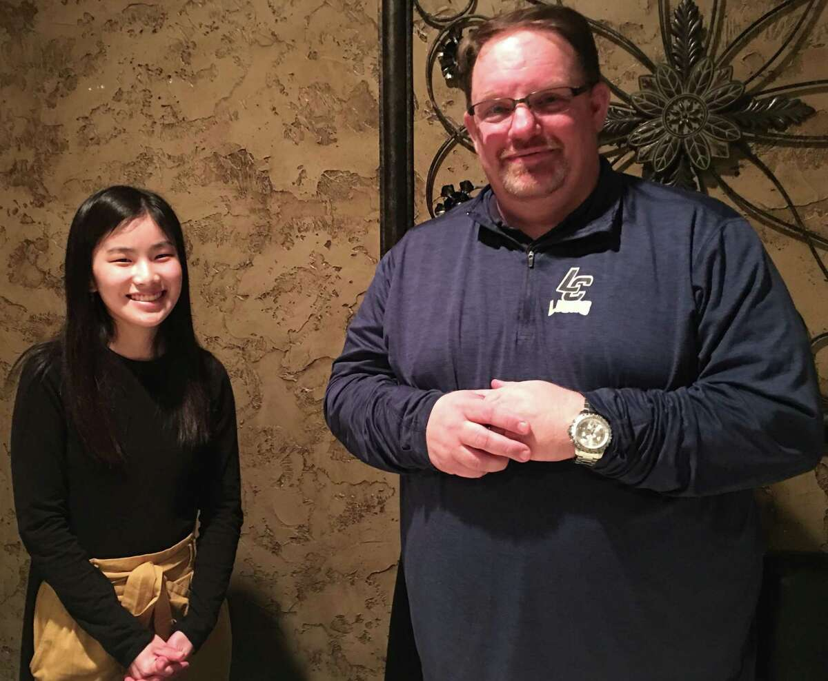 Lake Conroe Centennial Lions Club welcomed Leo sponsor from Lake Creek High School, Jared Williams, and Leo Club Vice-President, Maci Vanhaverbeke, to January's meeting held at Rex Steak House. Pictured here are, left to right, are Maci Vanhaverbeke and Jared Williams.