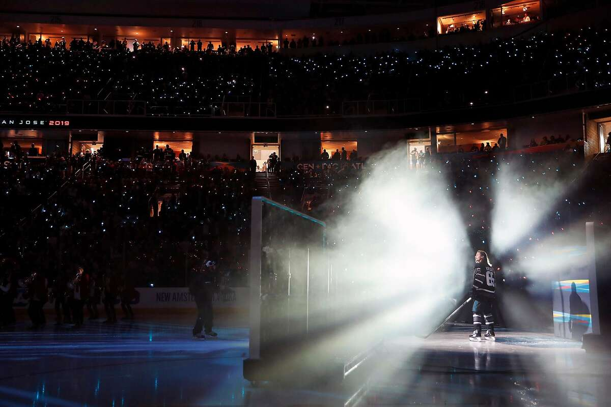 San Jose Sharks' Erik Karlsson is introduced before Central 10-4 win over Pacific during 2019 NHL All Star Game semifinal at SAP Center in San Jose, Calif., on Saturday, January 26, 2019.