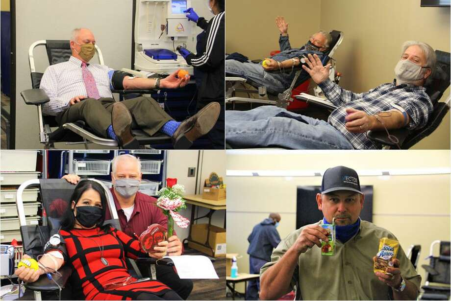 Members of the Conroe Noon Lions Club 'gave a heart' on Wednesday; whey they donated over 50 units of Blood for the Gulf Coast Regional Blood Center. Pictured: top left to right are Steve Wohlschlaeger, Mark Jefferson and Ed Dolphin, bottom left to right are Kim and Scott Perry, Jason Miller. Photo: Courtesy Photo