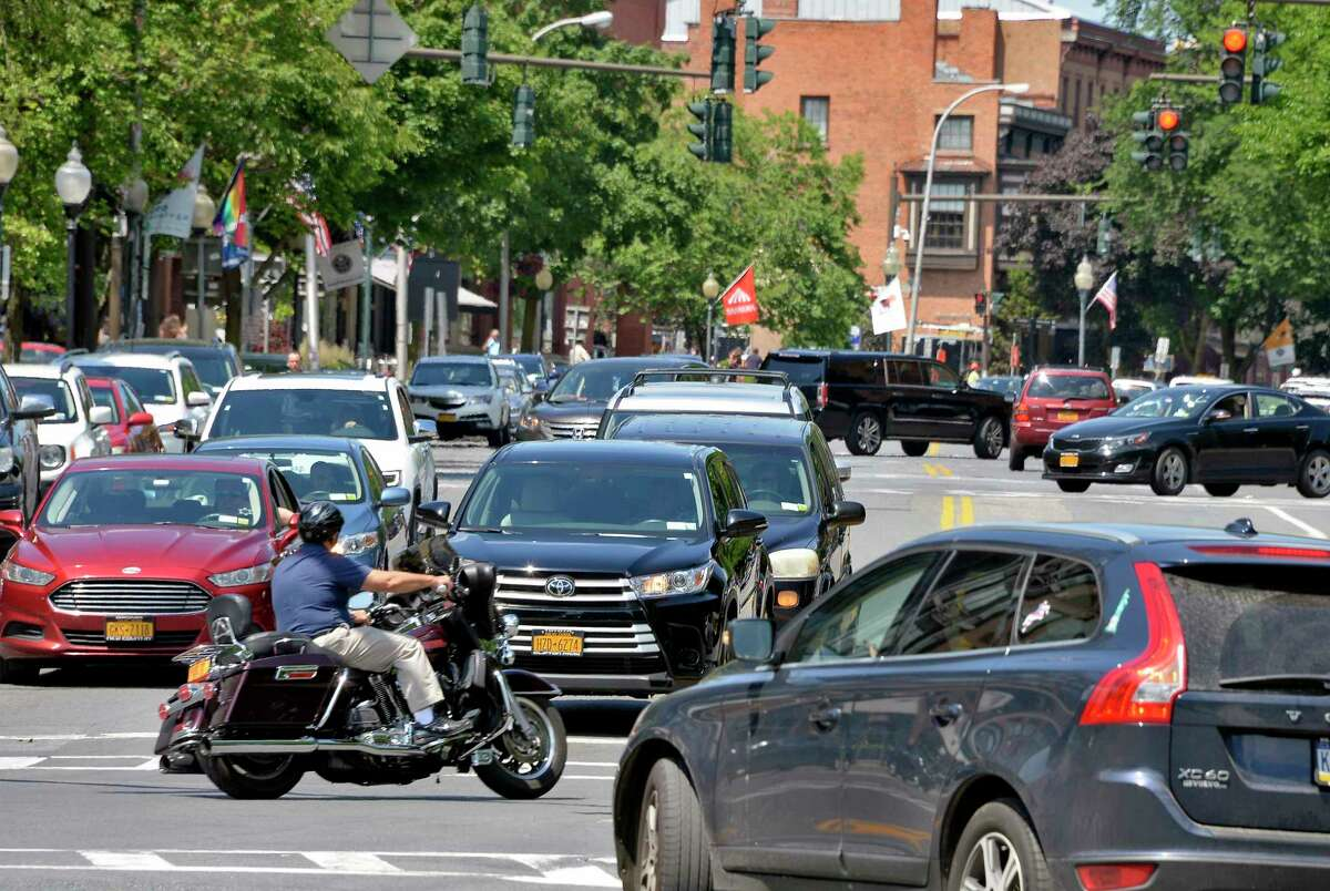 Post on social media Thursday night described traffic in downtown Saratoga Springs as resembling Travers weekend or other busy track-season days. (File photo.)