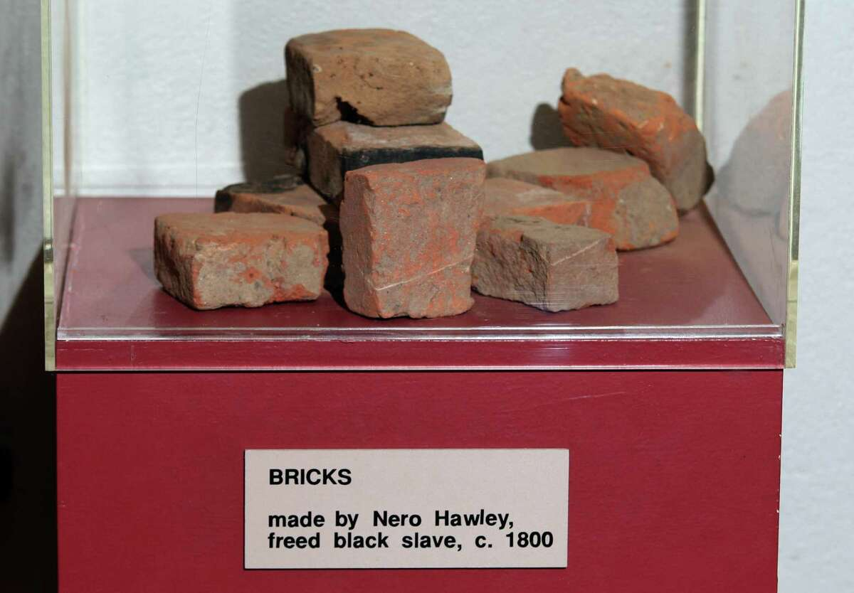 A view of bricks made by former slave Nero Hawley on display at the Trumbull Historical Society.