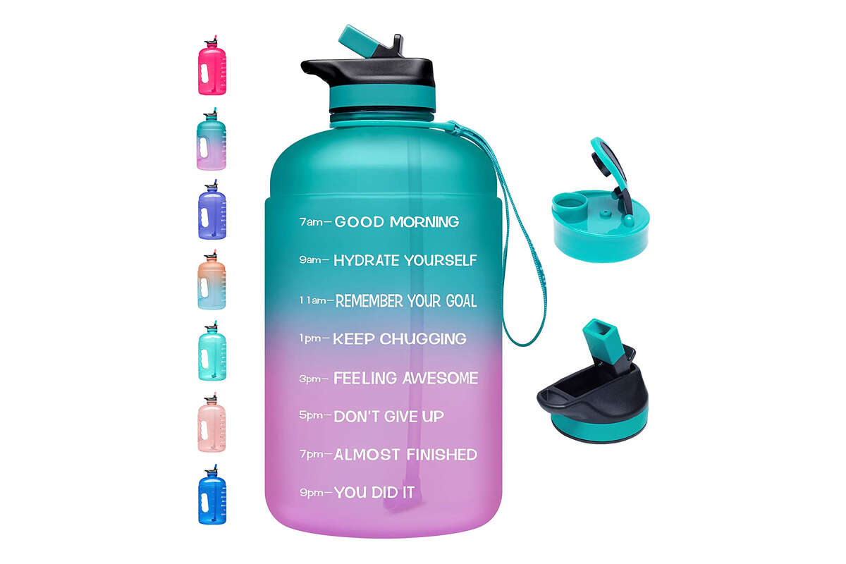 Venture Pal Large 1 Gallon Motivational Water Bottle with 2 Lids (Chug and Straw) for $22.99 at Amazon