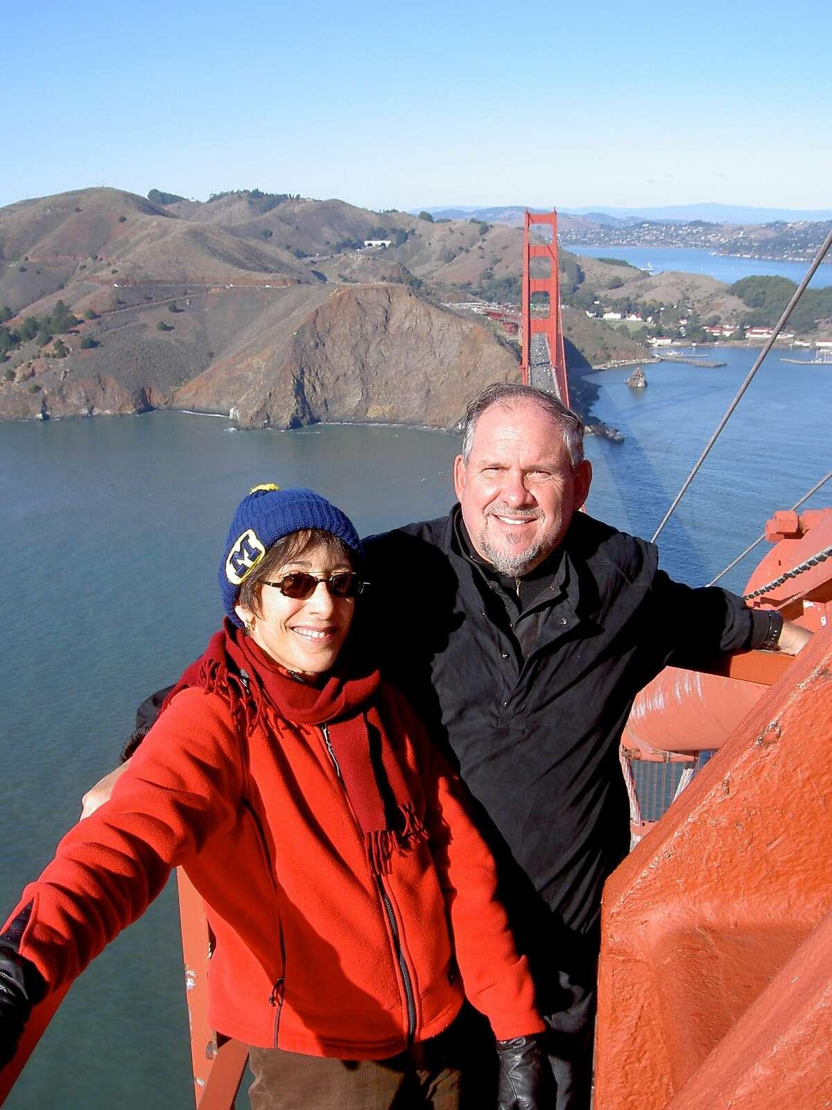 Epidemiologist Larry Brilliant and his wife Girija Brilliant on the Golden Gate Bridge.