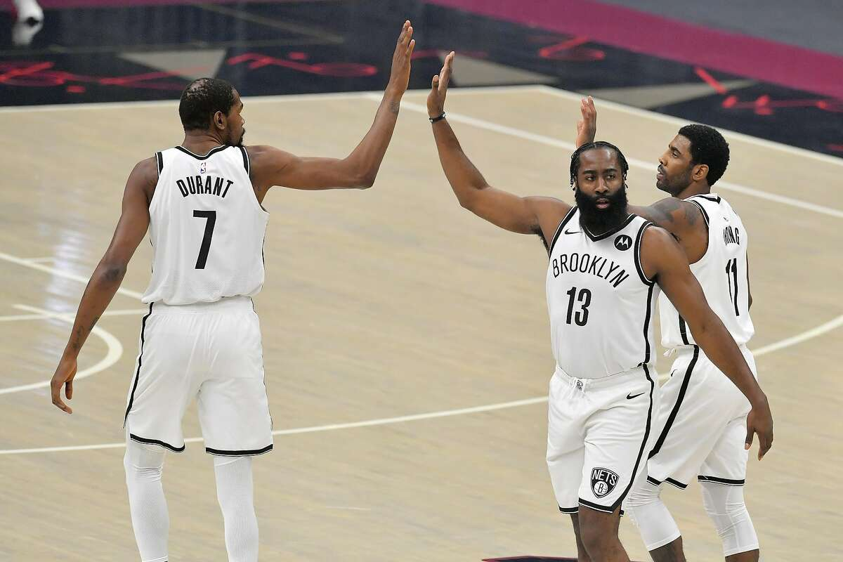 The Nets' Kevin Durant, James Harden (13) and Kyrie Irving, who have played only six games together this season, make the team dangerous because each is an elite performer.