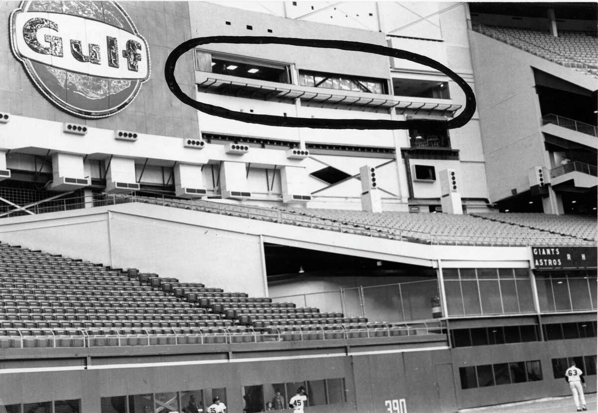 09/1968 - The windows of Roy Hofheinz' complex (circled) open onto the Astrodome playing field. The complex consists of six floors with 24 rooms of lavish offices, conference rooms, entertainment areas and living quarters. On the top floor, Hofheinz can entertain as many as 100 guests. Also on the sixth level behind the scoreboard are two ballrooms.
