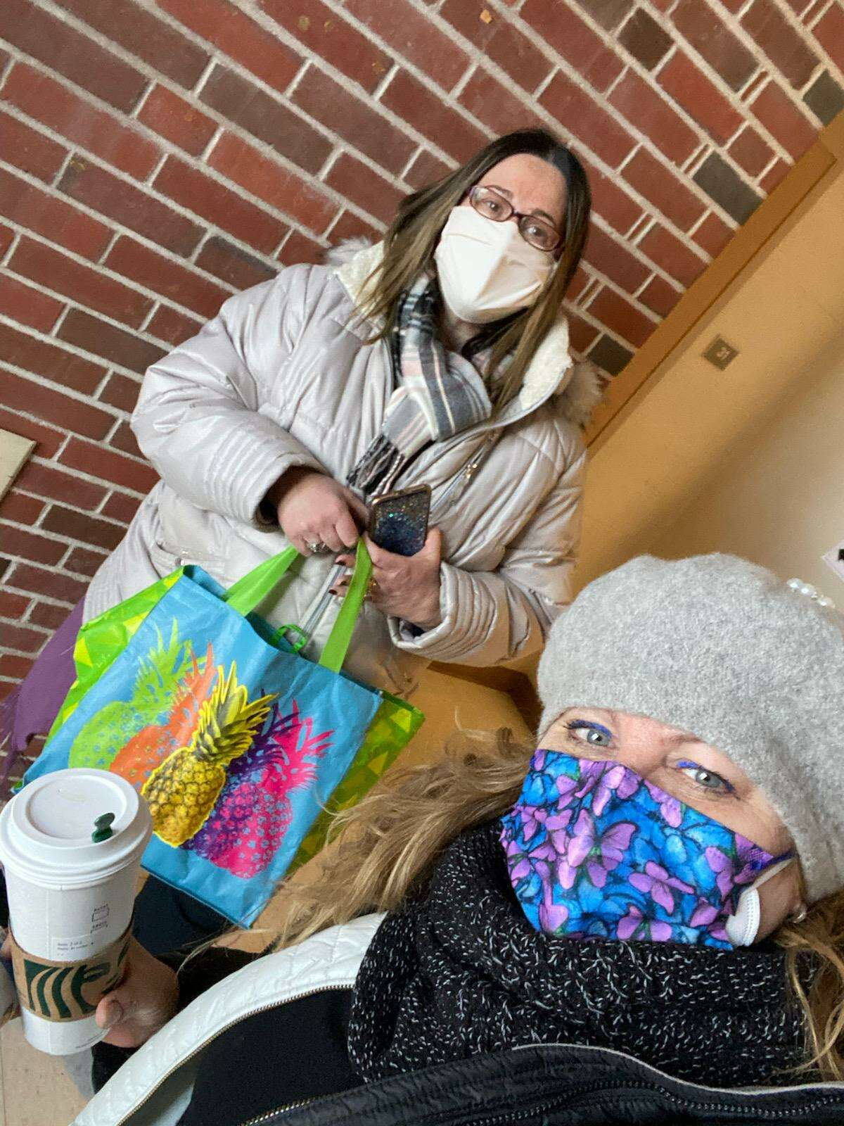 Debbie Abel and Rachel Kelly, founders of A Little Help From My Friends, have collected clothing and food for needy residents.