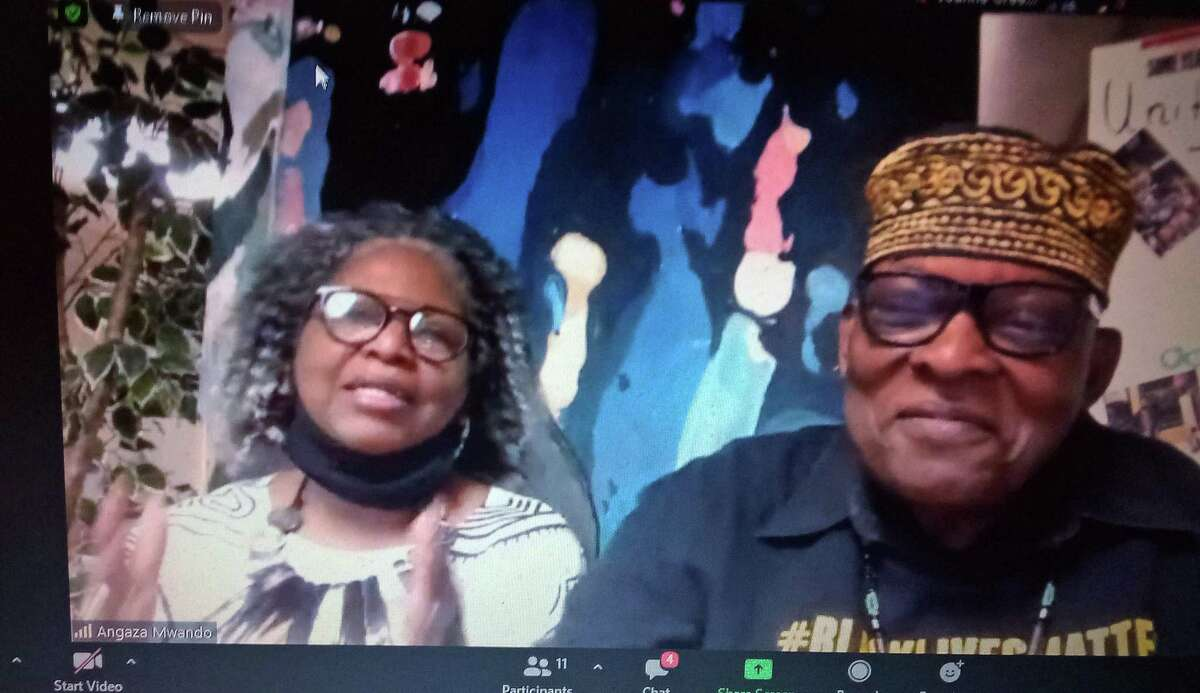 Our Culture is Beautiful held a Black History Month event Feb. 12 on Zoom. Above, co-founders Effie and Angaza Mwando talk with guests.