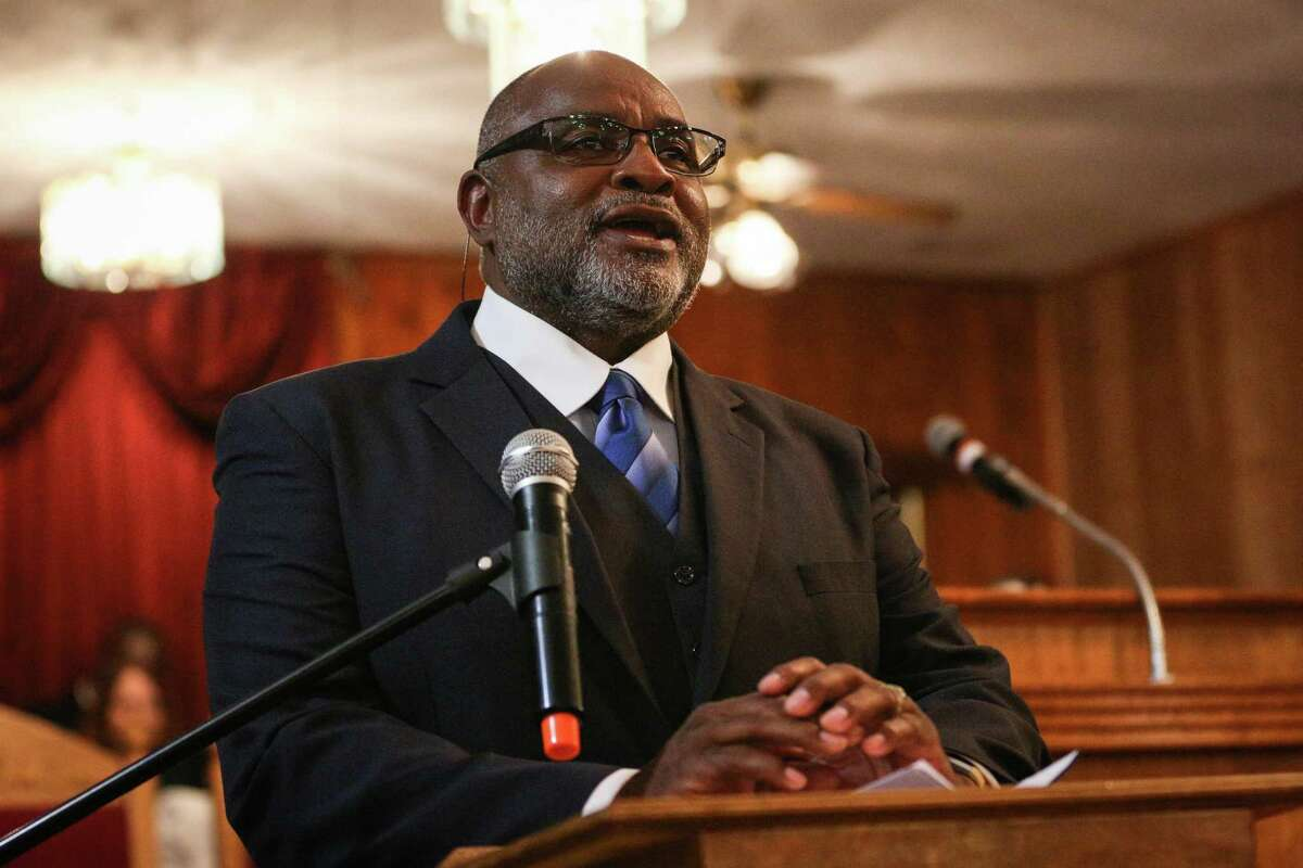 Willis Mayor Leonard Reed speaks during the church service and historical marker unveiling on Sunday, Nov. 19, 2017, at Antioch Missionary Baptist Church in Willis. Reed is one of the Montgomery County leaders profiled during Black History Month.