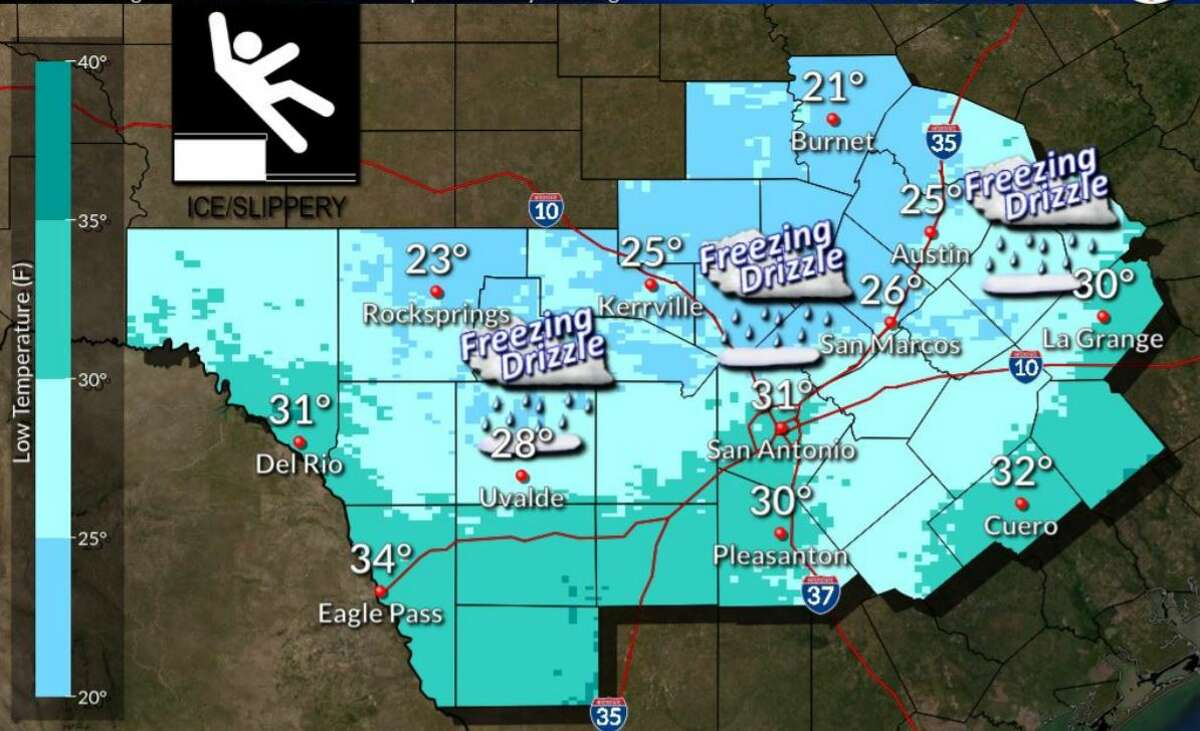 Friday --- Forecasters warn a freezing drizzle could make conditions slippery.