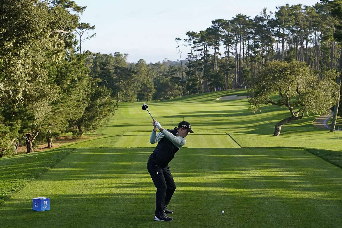 Stanford alum Maverick McNealy hits his tee shot on No. 10 at Spyglass Hill during Friday's second round of the AT&T Pebble Beach Pro-Am.