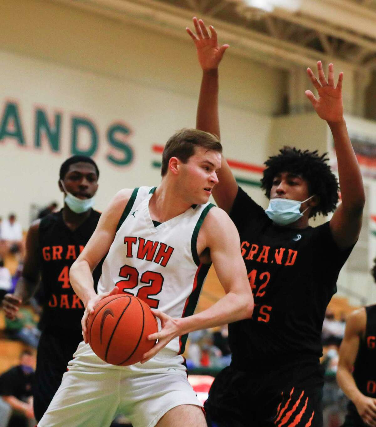 The Woodlands center Brock Luechtefeld (22) ,shown here earlier this season, had 22 points against Willis Friday night.