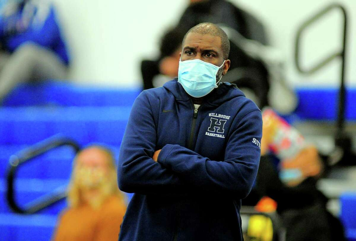 Hillhouse Head Coach: Renard Sutton during boys basketball actionagainst West Haven in West Haven, Conn., on Friday Feb. 12, 2021.