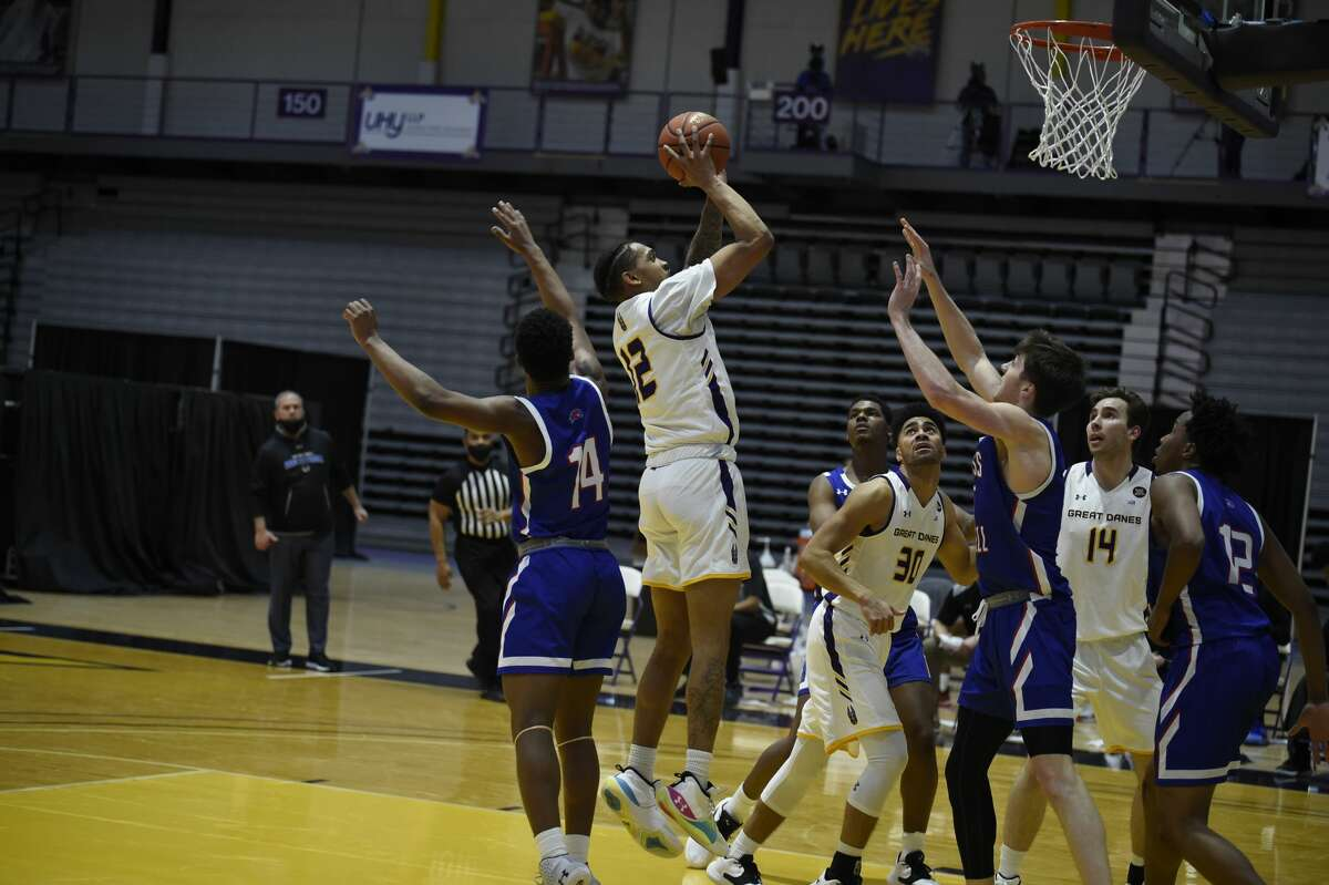 Kellon Taylor of UAlbany puts up a shot against UMass Lowell on Friday, Feb. 12, 2021.
